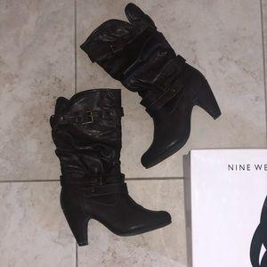 Nine West Deep Chocolate Below Knee Wedge Boots 9